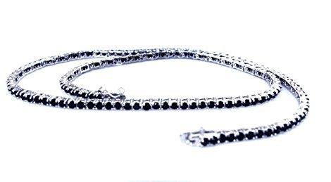 codice promozionale 5223a aaaf7 Collana Collier donna o uomo modello Tennis in argento 925 con zirconi neri  griffe 2,5 mm taglio brillante 50 cm