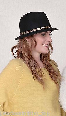 Borsalino Cappello Donna in lana con bordo maculato hat cap woman made in  Italy 25ad27313cd9