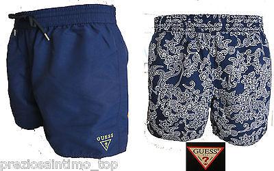 Guess Boxer Mare Uomo Costume da Bagno Corto Pantaloncino blu ...