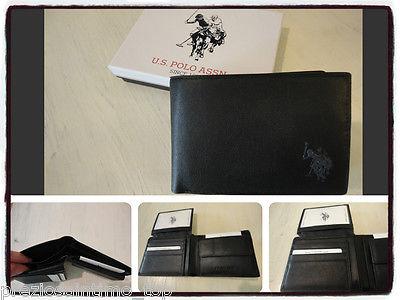 outlet in vendita miglior grossista vendita online Portafoglio Uomo vera Pelle U S Polo 2015 nero leather wallet trifold