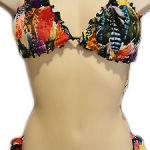 Bikini Guess tg L Camouflage fluo Con fascia slip arricciato mimetico beachwear