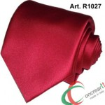Cravatta o Cravattino Made In Italy Alta Qualità in Raso Poli Con Pochette R1027 Rosso