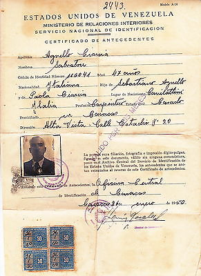 ESTADOS UNIDOS DE VENEZUELA – PERMESSO DI SOGGIORNO A ITALIANO – 1950