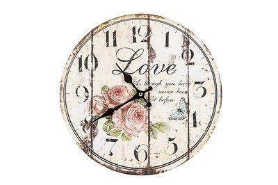 Orologio Da Parete Muro Shabby Chic Rose Country Casa Cucina Stampa