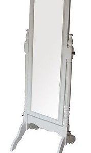 Specchio cornice bianca specchiera da terra appoggio shabby chic ...