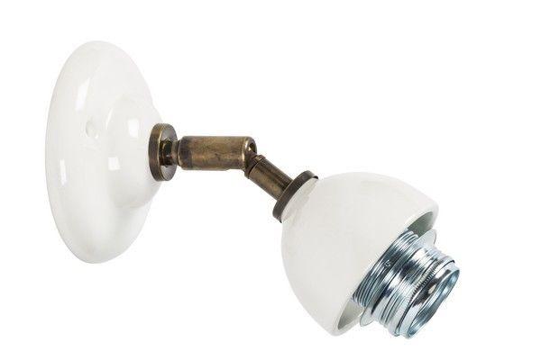 Applique da muro snodata shabby chic ottone bianca laccata lampada