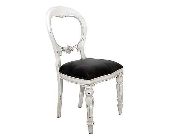 Poltrona poltroncina sedia barocco legno pelle vintage sedia