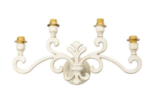 Applique da muro giglio shabby chic ottone bianca laccata lampada