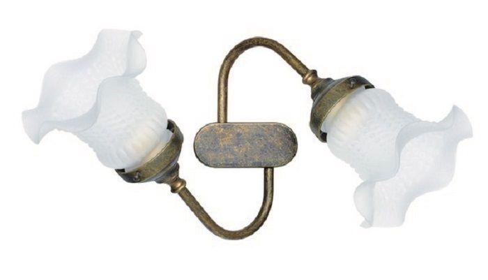 Applique da muro 2 luci ottone brunito vintage lampada parete arredo