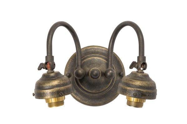 Applique da muro ottone brunito luci vintage lampada parete