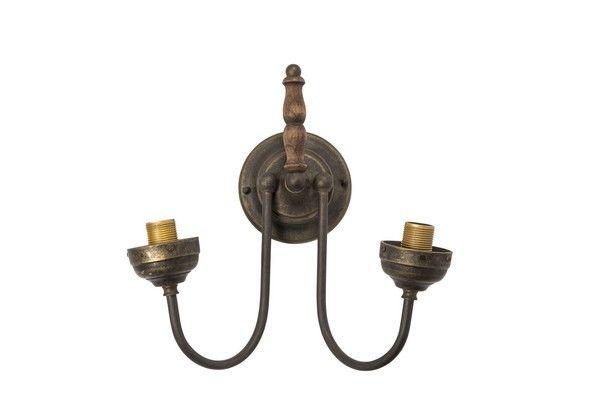 Applique da muro ottone brunito legno vintage lampada parete