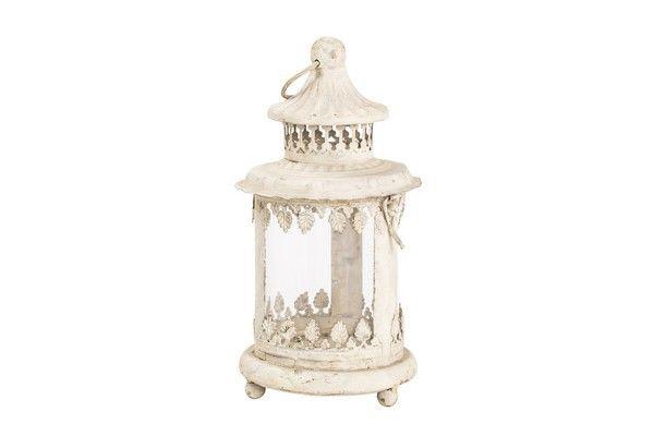 Lanterna lampada 20cm bianca shabby chic ferro vetro vintage