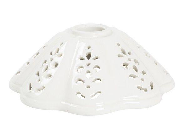 Paralume piatto ceramica bianco traforato lampada ricambio