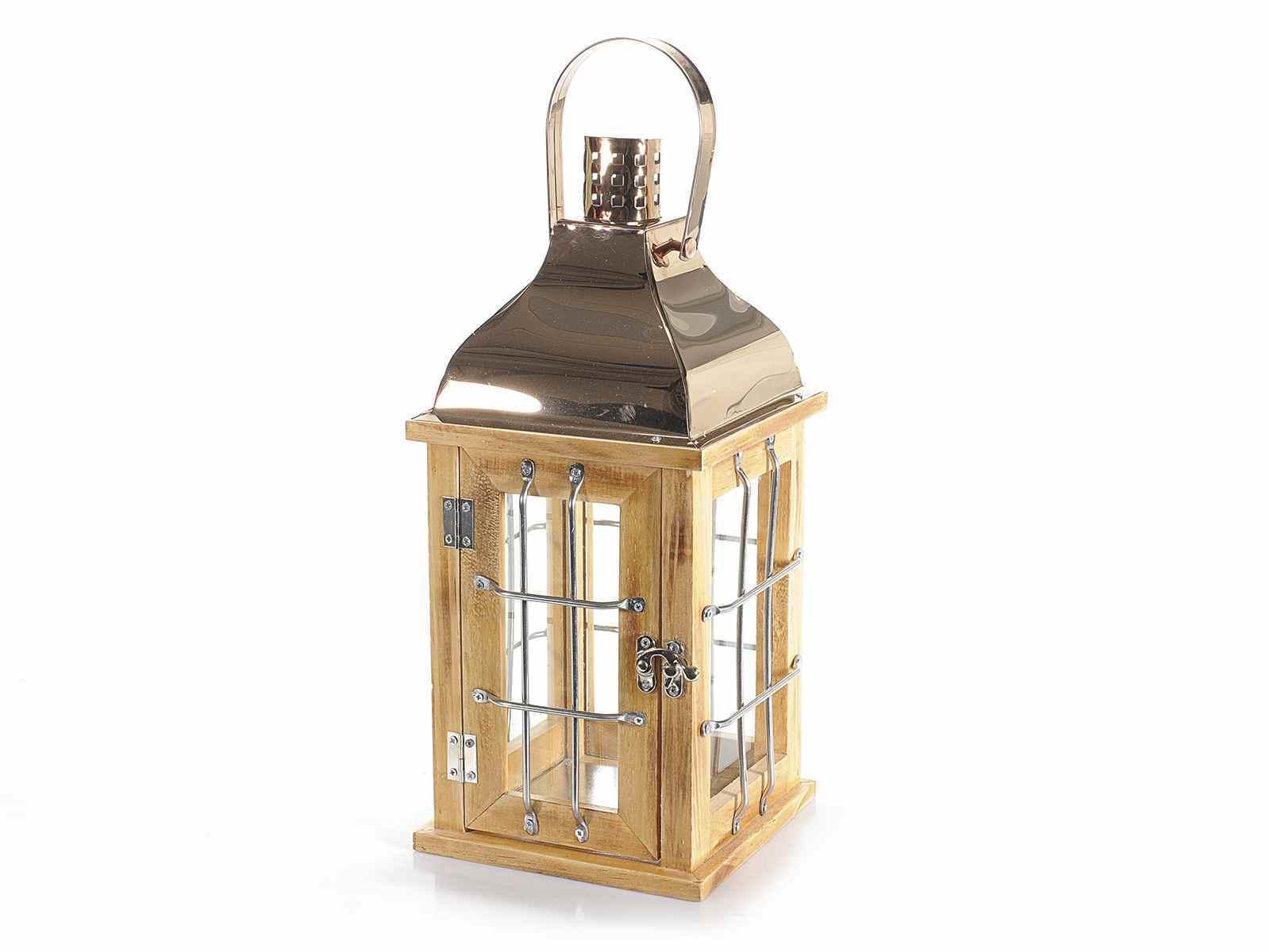 Lampade Rustiche In Rame : Lampada lanterna 33.5cm legno metallo rame vetro rustica