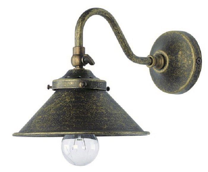 Applique da muro luce ottone brunito vintage lampada parete