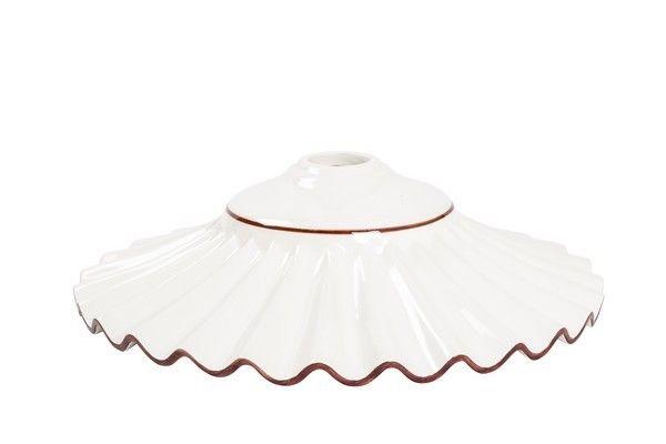 Piatti In Ceramica Per Lampadari.Paralume Piatto Ceramica Bianco Plissetato Marrone Lampada Ricambio Lampadario