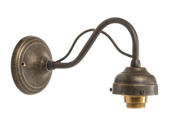 Applique da muro luce ottone brunito curvo vintage lampada