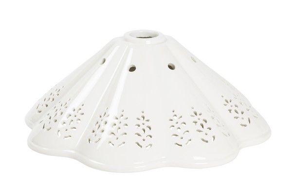 Paralume piatto ceramica bianco traforato lampada ricambio applique