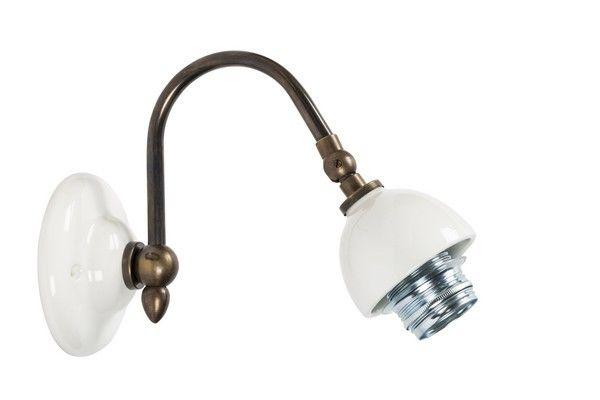 Applique da muro 1 luce shabby chic ottone bianca laccata lampada